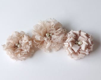 3 Champagne Fabric Flowers Embellishment