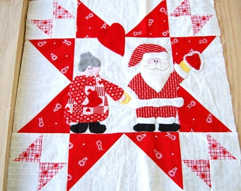 """Vintage Santa Claus and Mrs. Claus Valentine 16"""" quilt square Christmas pillow top hand appliqued ready to ship pillowtop idea red and white"""