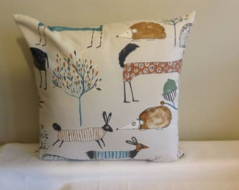 "Modern 16"" bright coloured woodland animal cushion cover, scatter cushion, pillow case"