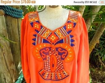 1/2 OFF Vintage 1980's Unbelievable Embroidery on a Vibrant Orange Dress,Tunic,  Boho, Hippie