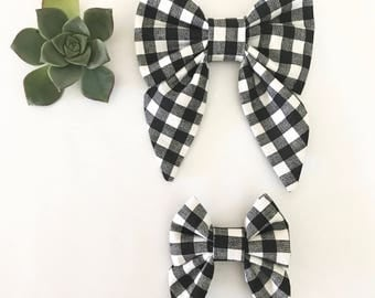 Black and white gingham sailor bow, checkered bow, hair bow, hair clip