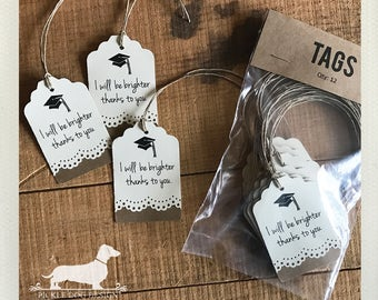 CLEARANCE! Congrats Grad. Gift Tags (Set of 12) -- (Vintage-Style, 2017 Graduation, Party Favor, Thank You, College, High School, Grad)