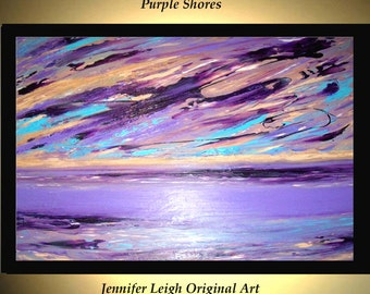 Original Large Abstract Painting Modern Acrylic Painting Oil Painting Canvas Art PURPLE SHORES Tan Lavender 36x24 Textured Wall Art  J.LEIGH