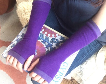 Fingerless Gloves in purples, cashmere fingerless mittens, armwarmers