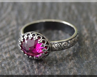 READY to SHIP, Ruby Ring, US Size 6.5, July Birthstone Ring, Sterling Silver gemstone Ring, Ruby Stacking Ring, Flower Detail Shank Ring