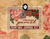 Writing Journals - Vintage Parcel - 16 Journal Pages, digital paper packs, grungy pages digital, lined notebook, digital journal kit