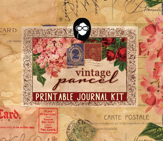 Writing Journals - Vintage Parcel - 16 Journal Pages, digital paper packs, grungy pages digital, lined notebook, digital journal kit