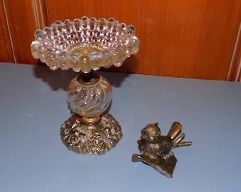 Hobnail Glass and Brass Candy Dish, Disneyesque Brass Bird