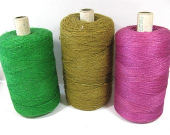 Linen Yarn, large spools, spring green, khaki and fuchsia, 13 to 15 ounces, 1 spool, weaving, craft supply