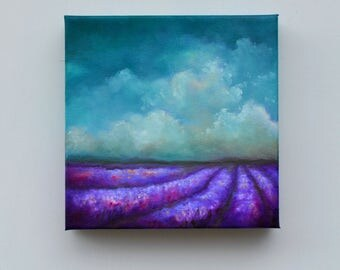 Lavender field painting, oil painting, original art, clouds, landscape painting, home decor - Lavender Field