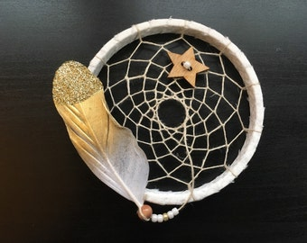 sale - Mini Dream Catcher - white and gold glitter feather - dreamcatcher - ornament -  ready to ship - wingedwhimsy