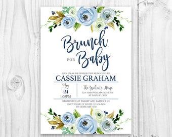 Baby shower boy brunch invitation, floral blue baby shower boy invitation, baby shower brunch invitation, watercolor blue floral invitation