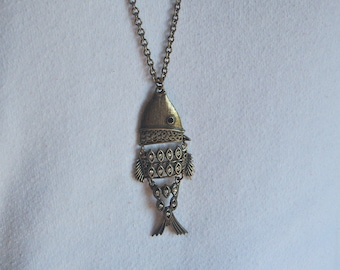 Vintage Fish Pendant Necklace, Articulated Jointed Retro Costume Jewelry, Rhinestone  Details, 70/80's