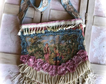 Marie Antoinette Style French Market Bag Shabby Chic Lovers Tapestry Collage Beauty