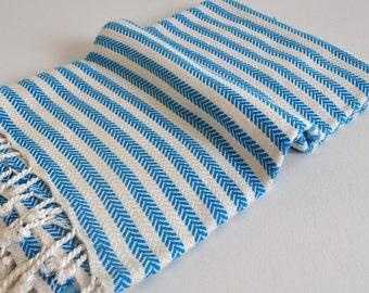 Turkish Bath Towel Bamboo Peshtemal Towel in Blue Pure Soft