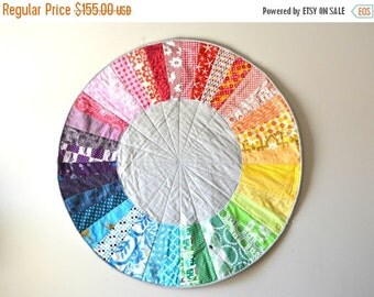 HALLOWEEN SPECIAL SALE Rainbow Color Wheel Quilt - Baby Play Mat - Circle Rug -  Nursery Room Decor - Color Wheel Wall Hanging