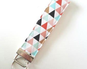 Modern Key Fob - Triangle Fabric