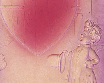 Ca 1908 Heavily Embossed Victorian Valentine Greetings Bas Relief Postcard - 2208