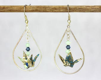 Sterling Silver Dangle Earring Green Blue Origami Crane Tear Drop Shaped Hoop