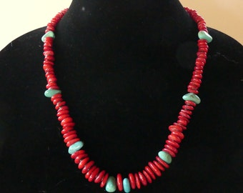 22 Inch Red Coral Freeform Rondelle and Turquoise Necklace with Earrings