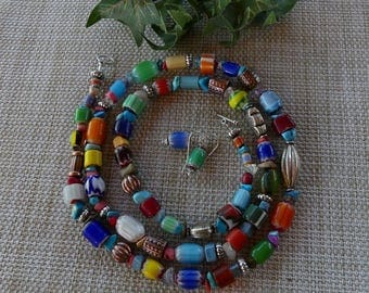 32 Inch Ethnic Boho Hippie Indonesian and Italian Glass Necklace with Earrings