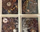 Steampunk resin-coated coaster set