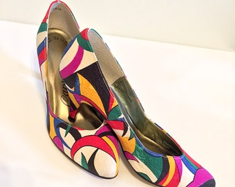 Vintage 1980s Capri Pop Art Shoes - Size 4.5 B