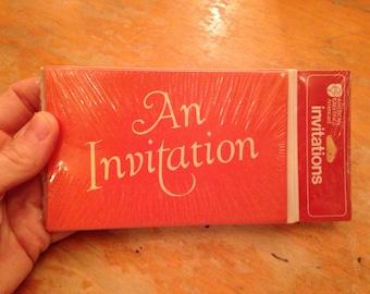vintage NOS orange party invitations set of 8 by american greetings