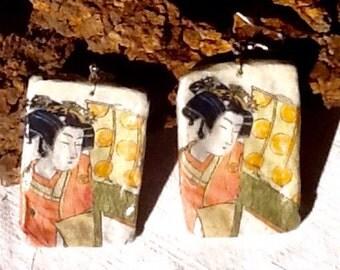 MELLIFLEURS,orecchini cartapesta gheisa,pezzi unici