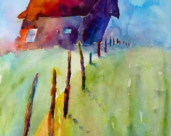 old rustic barn on hill western contemporary colorful southwestern  mountains old farm house painting print watercolor canvas rural rustic