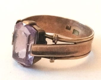 Amethyst Ring, Rose Gold, European Gold, Vintage Jewelry SPRING SALE