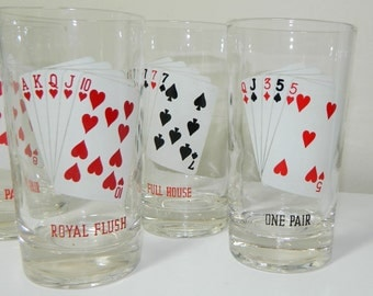 Five Vintage Playing Card Drinking Glasses