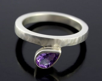 SALE 2 days only Pear Shape Amethyst Ring. Offset, Teardrop Purple Amethyst Ring in Satin Finish Sterling Silver with Hammered Texture - CS1