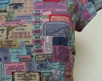 Handmade dress - retro adverts print UK 12