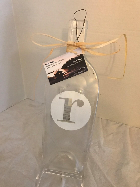 Clear Glass Letter R mongram Wine Bottle Cheese Tray/Platter