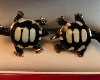 Rare Original Vintage SWANK Fashion Tones Turtle Cufflinks