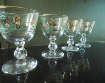 Mid Century Cocktail Glasses -  Marine Life - Libbey - Set Of 4 - 2 Oz.