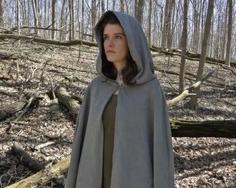 Elven Cloak, Renaissance Cape, Long Medieval Cloak - Soft Gray
