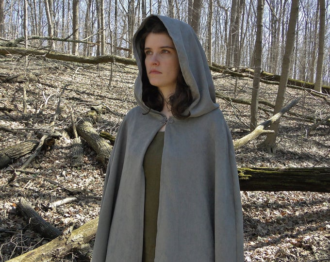 Elven Cloak, Renaissance Cape, Long Medieval Cloak - Soft Gray