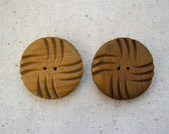 Pair of Vintage Carved Wood Coat Buttons