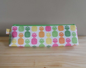 Slim Pencil Case, Neon Pineapples, Pineapple Pencil Pouch, One of a Kind