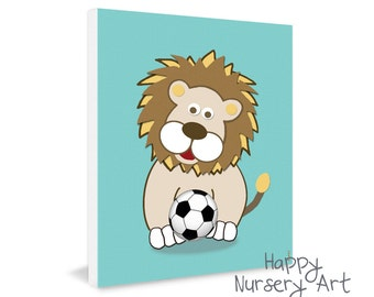 Soccer Nursery art, sports nursery decor,soccer ball,lion wall art,nursery design,art for boys nursery,boys room poster,pictures for nursery