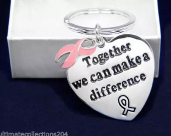 Pink Ribbon Key Chain Awareness Support Breast Cancer Gift Box