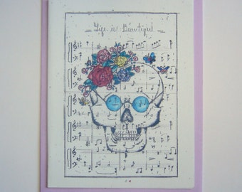 valentine card birthday cards thank you funny blank plain skelton muerte handmade print music sheet flowers colorful tattoo style unique lol