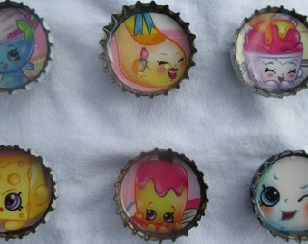 Shopkins Bottle Cap Magnets Party Favors Handmade Upcycled Material