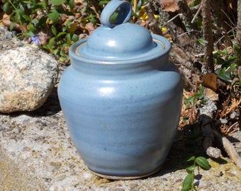 Blue Covered Jar or Crock or Canister