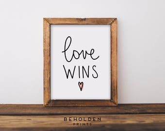 Love Wins, Dorm Wall Art, Dorm Decor, Love Quotes, Quote Prints, Christian Prints, Love, Christian Wall Art, Hand Lettered Truth, Quotes