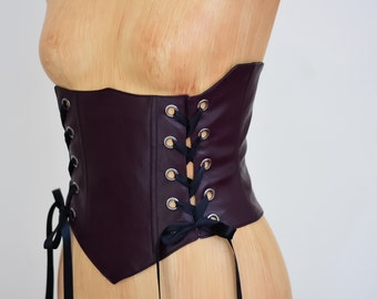 SALE Ready to Ship Steampunk Renaissance Waist Corset- Burning man festival steam punk Victorian  clothing corset Waist Cincher Belt Leather