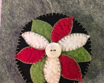 Beautiful Flower Appliqued On Black Felted Wool Fabric With Lovely White Button