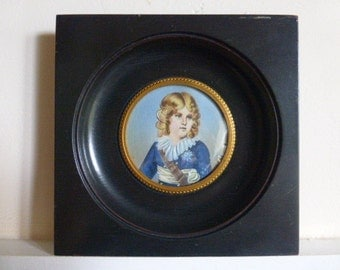 Napoleon II, Imperial Prince, King of Rome Miniature Portrait Painting Hand Painted in Wooden Frame D'Apres Isabey